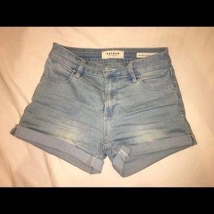 Pacsun light wash super stretch shorts